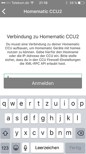 homematic ccu2 ip eingabefeld verdeckt ios app homee community. Black Bedroom Furniture Sets. Home Design Ideas