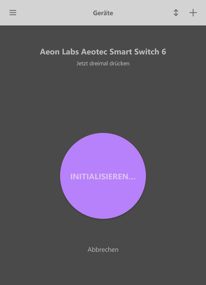 Text Anlernvorgang Aeon Smart Switch 6 Geschlossen